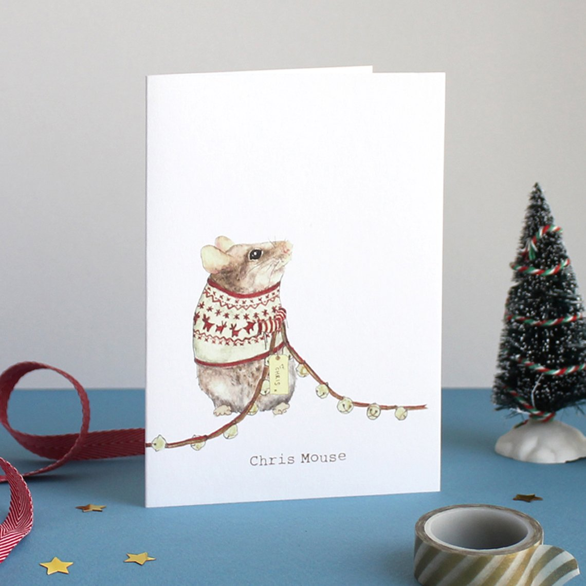 Mister Peebles Christmas Greeting Card 'Chris Mouse'