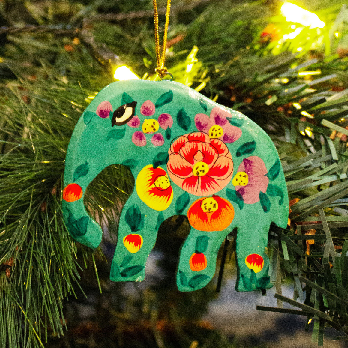 Indian Hand Painted Kashmir Elephant Decoration 'Teal Floral'