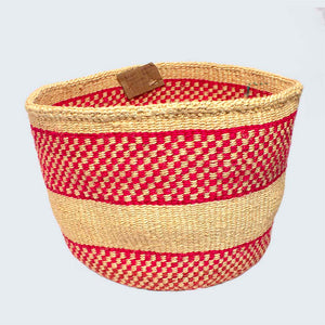 Kenyan Sisal Basket 'Degina Red' No.76