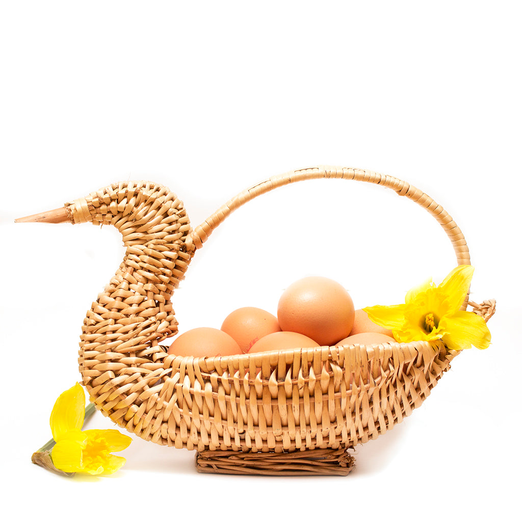 Indian Rattan Duck Basket With Handle