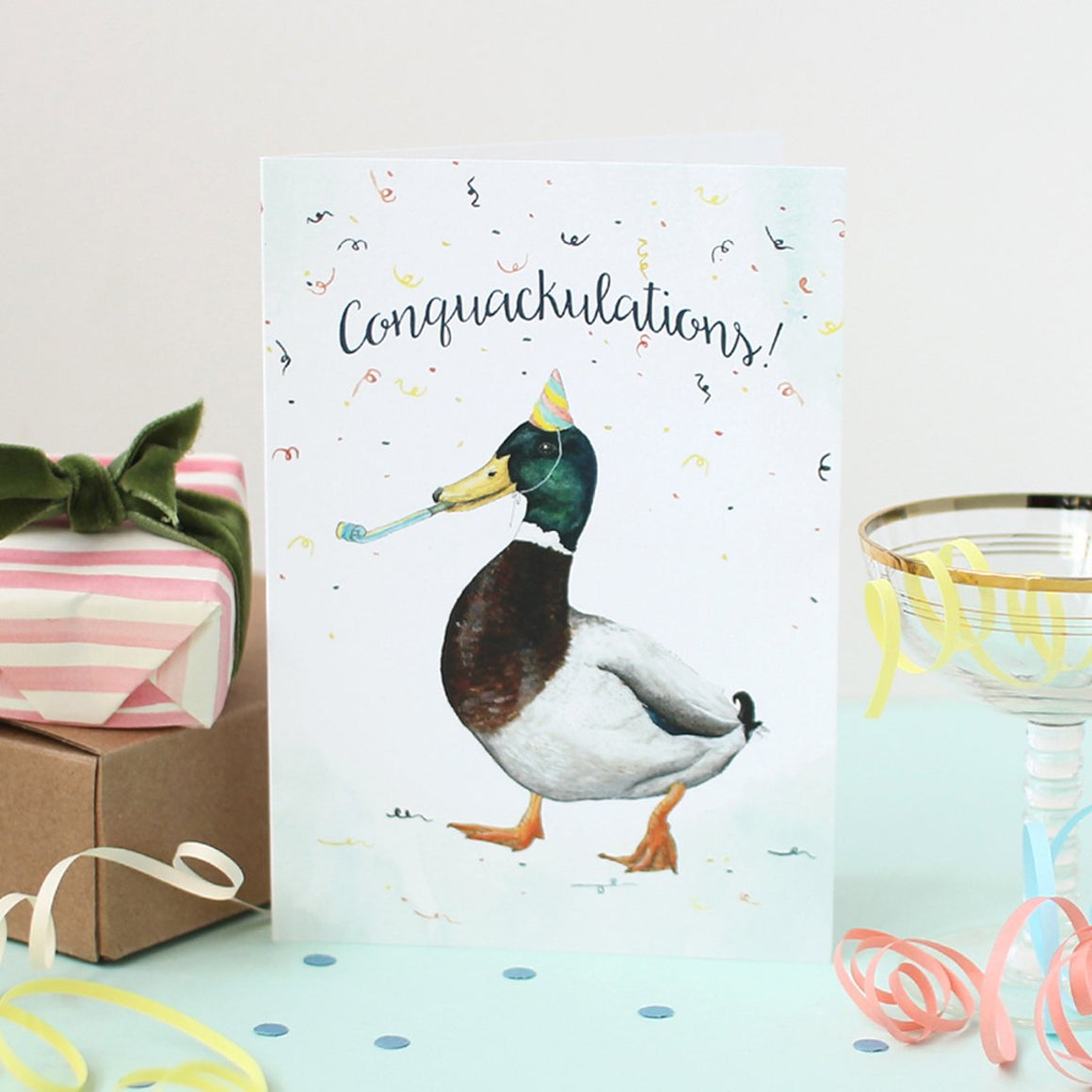 Mister Peebles Greeting Card 'Conquackulations!'