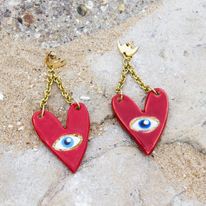 Eye Love You Ceramic Heart Earrings