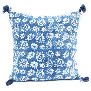 Indian Indigo Block Printed 45cm x 45cm Cushion Cover 'Eyes'
