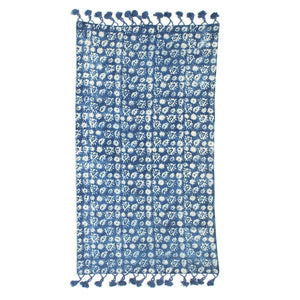 Indian Indigo standard sized 3 by 5 feet long block printed, handwoven naturally plant dyed rug 'Eyes'