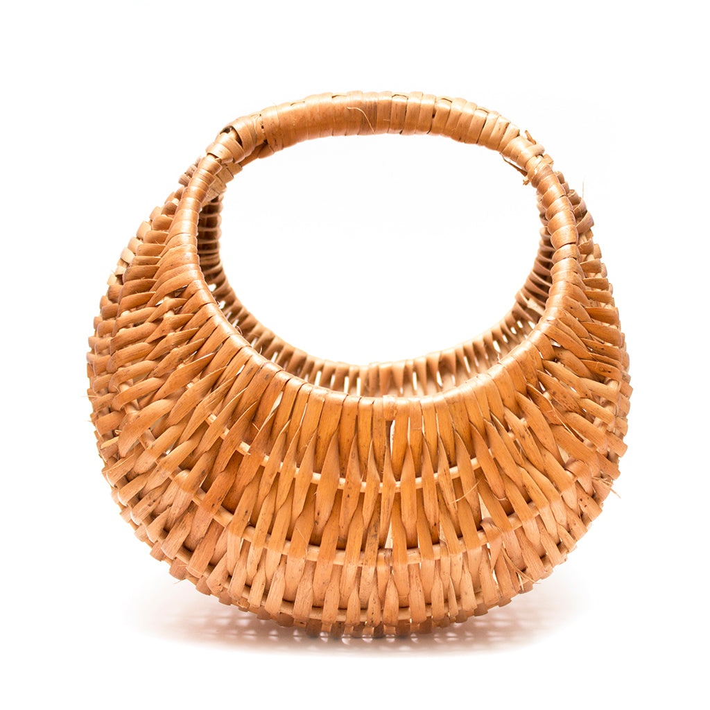 Indian Rattan Egg/Flower Basket With Handle