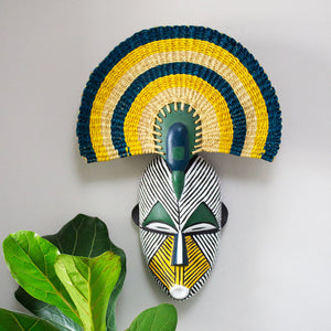Ghanaian Hand Carved Wooden Face Mask With Woven Fan 'Blue, Green & Yellow'