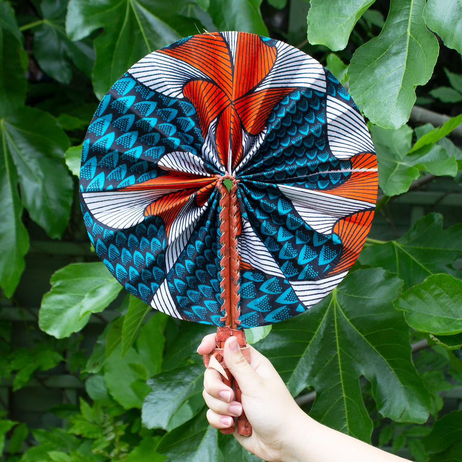 Ghanaian Wax Cotton & Leather Fan 'Orange & Teal Feathers'