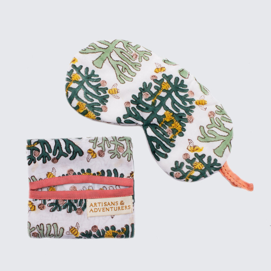 Indian Block Printed Cotton Eye Mask 'Fantasy Forest'