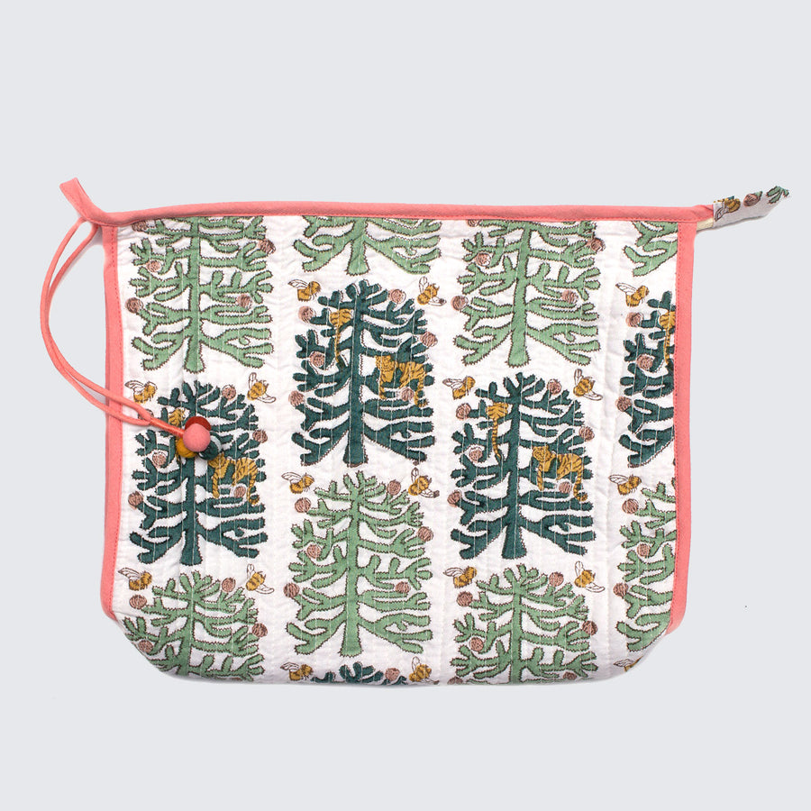 Indian Block Printed Large Pouch 'Fantasy Forest'