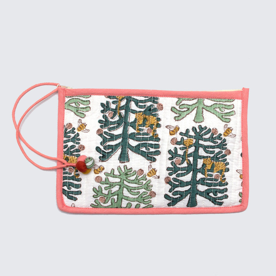 Indian Block Printed Medium Pouch 'Monkey Puzzle'