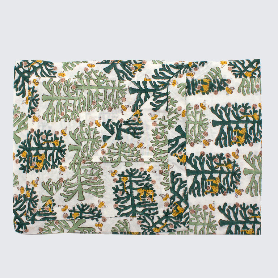 Indian Block Printed Pillow Case 'Fantasy Forest'