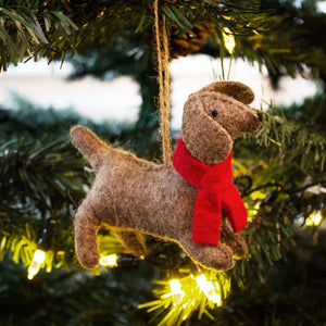Indian Felt Dog Hanging Decoration '2 - Foxy'