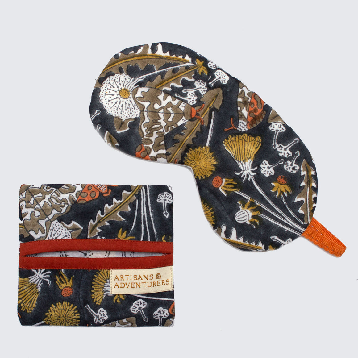 Indian Block Printed Cotton Eye Mask 'Garden Tiger Moth'