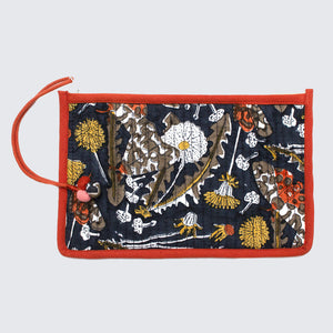 Indian Block Printed Medium Pouch 'Garden Tiger Moth'