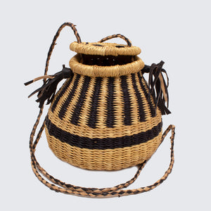Ghanaian Bolga Pot Bag With Leather Handles 'Natural Stripe'