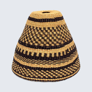 Ghanaian Hand Woven Bell Light Shade 'Black and Natural'