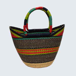 Ghanaian Large Bolga Shopping Basket With Leather Handles 'Navy, Green & Pink'