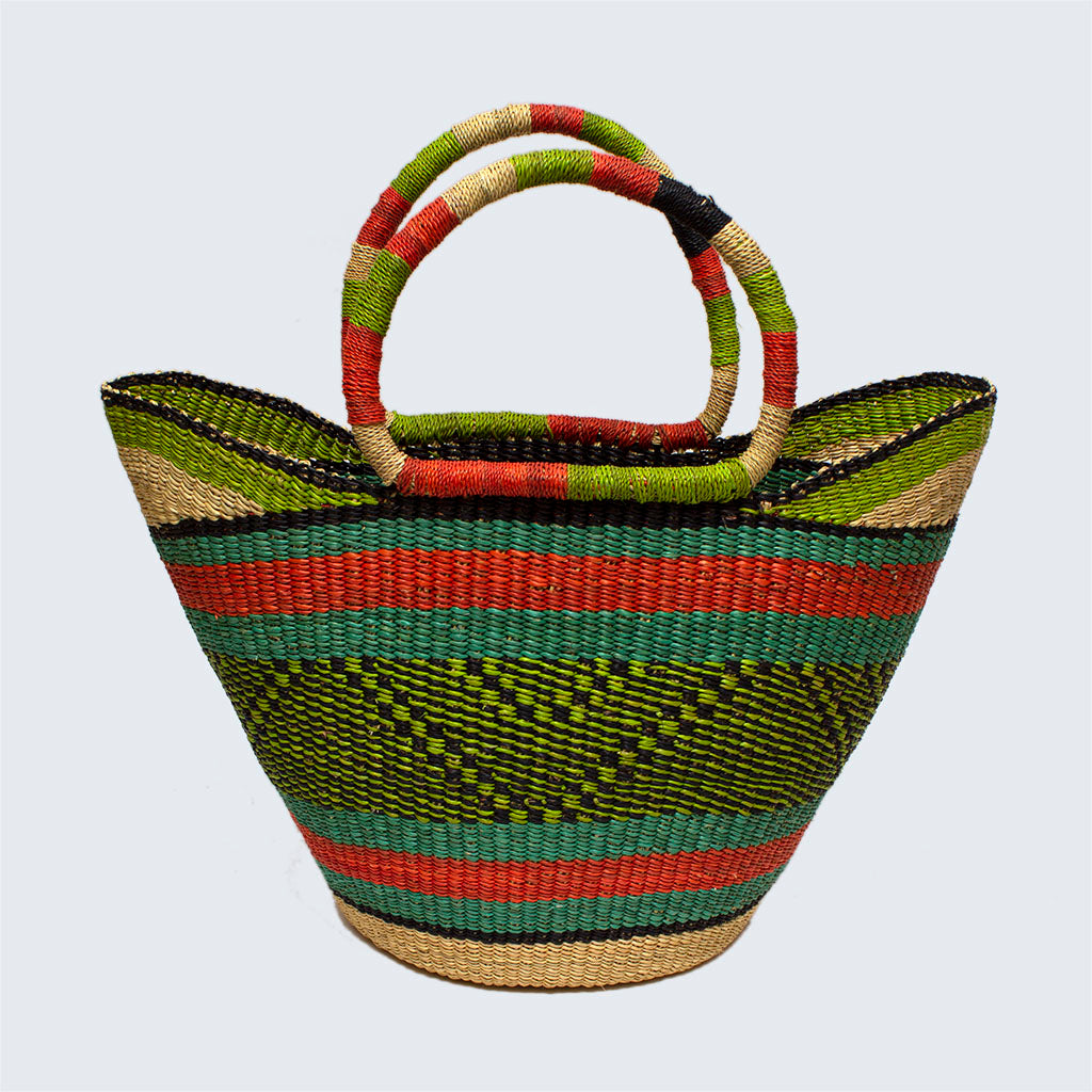 Ghanaian Large Bolga Shopping Basket With Leather Handles 'Green Haze'