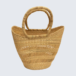 Ghanaian Bolga Shopping Basket With Leather Handles 'Natural'