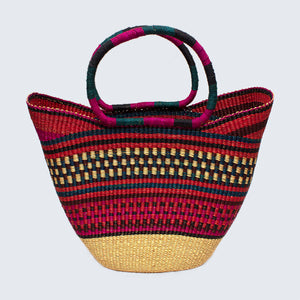 Ghanaian Large Bolga Shopping Basket With Leather Handles 'Red Haze'