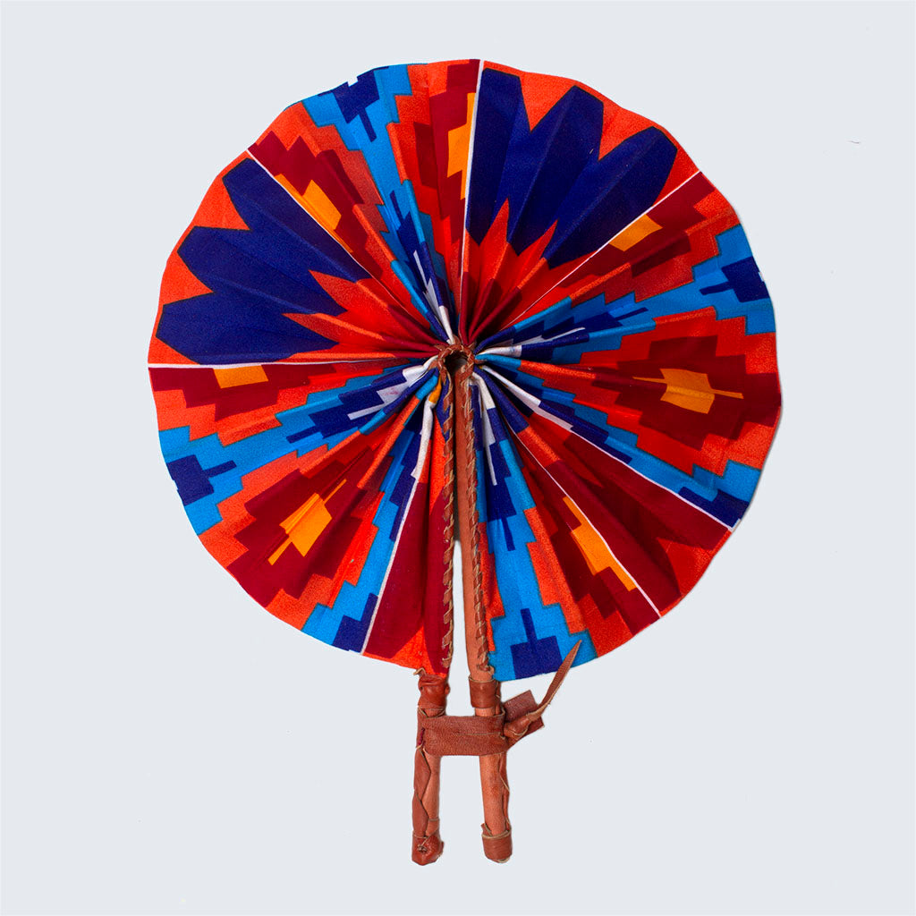Ghanaian Wax Cotton & Leather Fan 'Geometric Bloom'