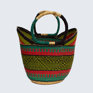 Ghanaian Large Bolga Shopping Basket With Leather Handles 'Kiwi and Watermelon'