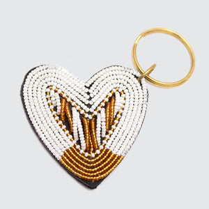 Kenyan Beaded Leather Heart Keyring 'White & Gold'
