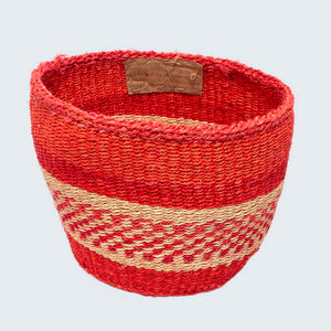 Kenyan Sisal Basket 'Grace Red' No.66