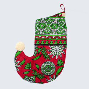 Large Christmas Stocking 'Red and Green Floral'