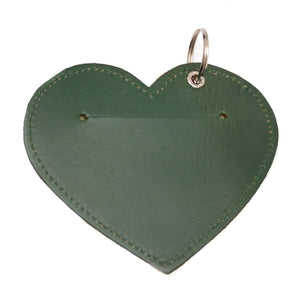 Poo Pouch Heart 'Green Leather'
