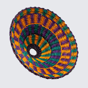Ghanaian Hand Woven Small Light Shade 'Green, Purple & Orange'