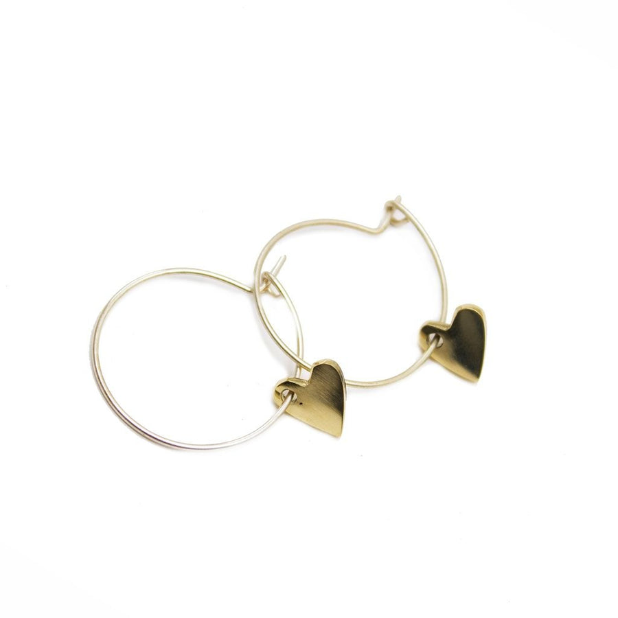 Heart Small Charm Hoop Earrings