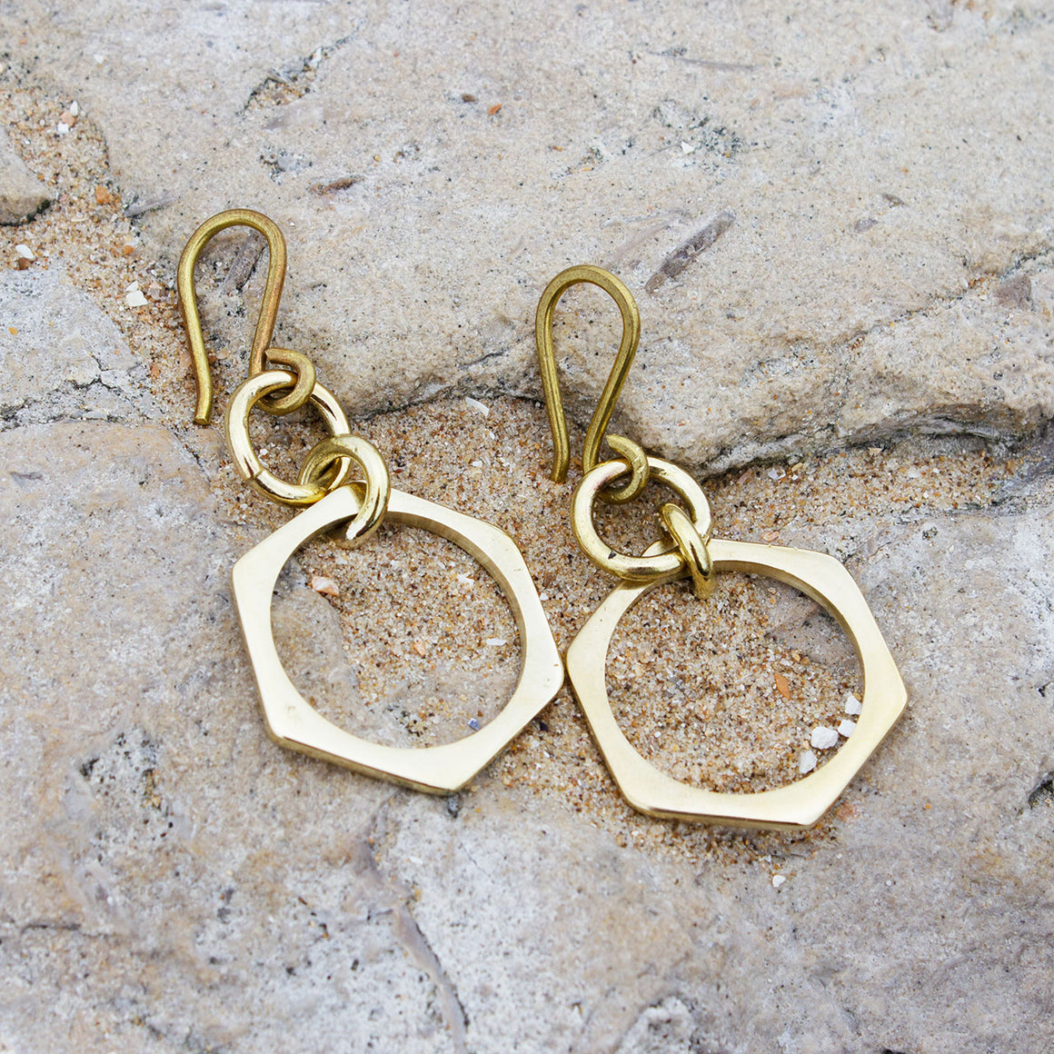 Signature Hexagon Brass Earrings