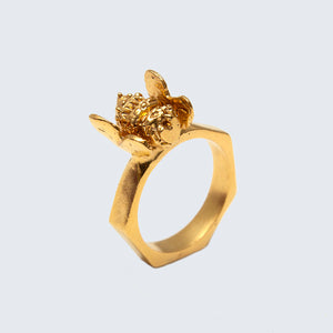 Honey Bee Brass Hexagon Ring