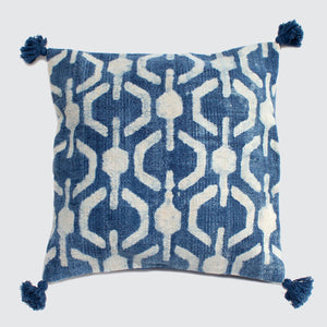 Indian Indigo Block Printed 45cm x 45cm Cushion Covers 'Honeycomb'