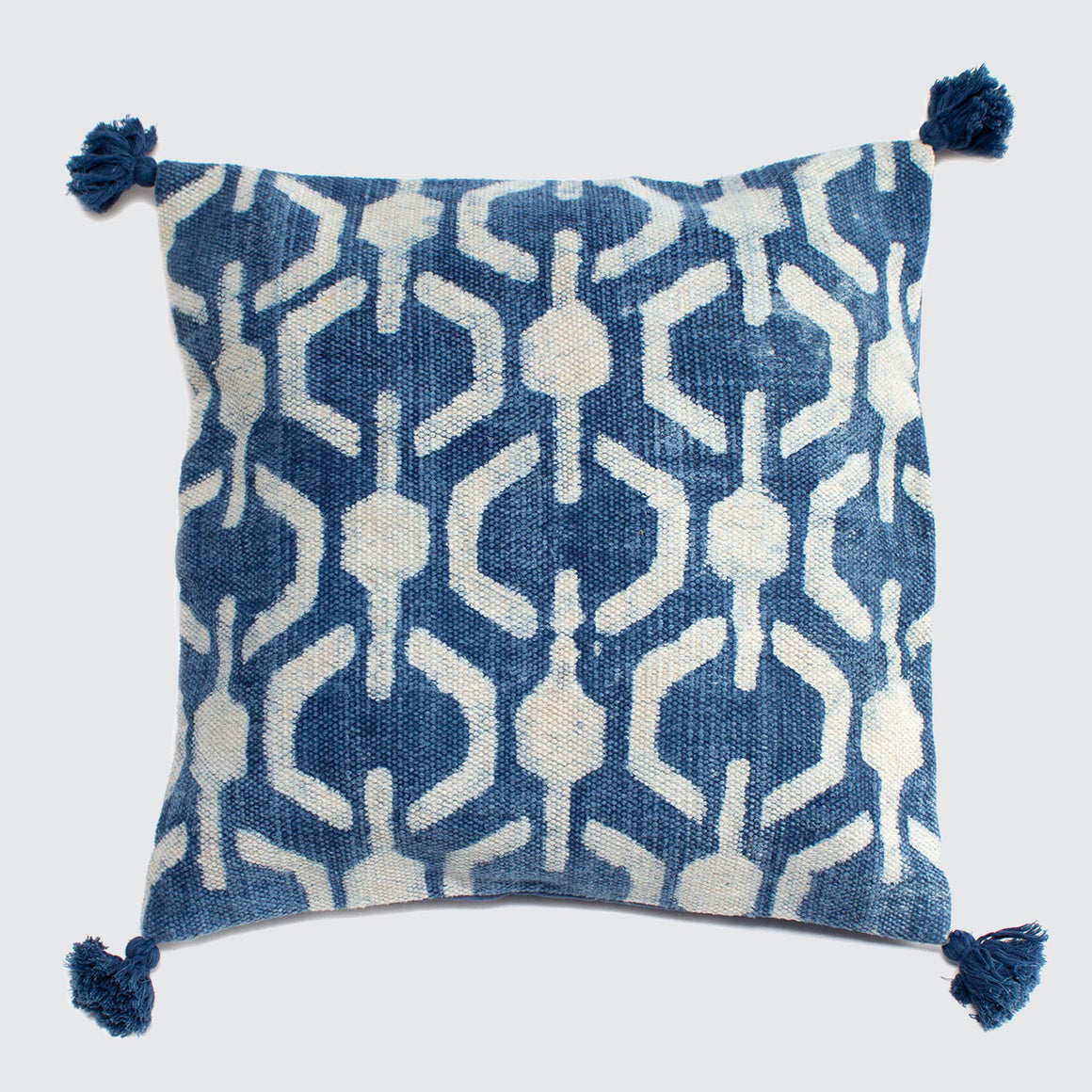 Indian Indigo Block Printed 65cm x 65cm Cushion Covers 'Honeycomb'