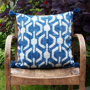 Indian Indigo Block Printed Cushion Covers 'Honeycomb'