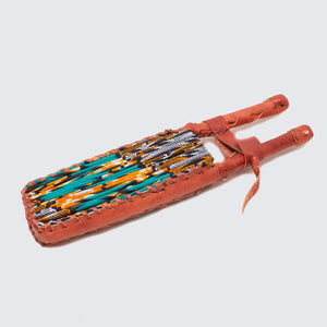 Ghanaian Wax Cotton & Leather Fan 'Orange & Turquoise Honeycomb'