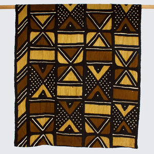 West African Bògòlanfini Mud Cloth 'Earth Tone Hourglass'