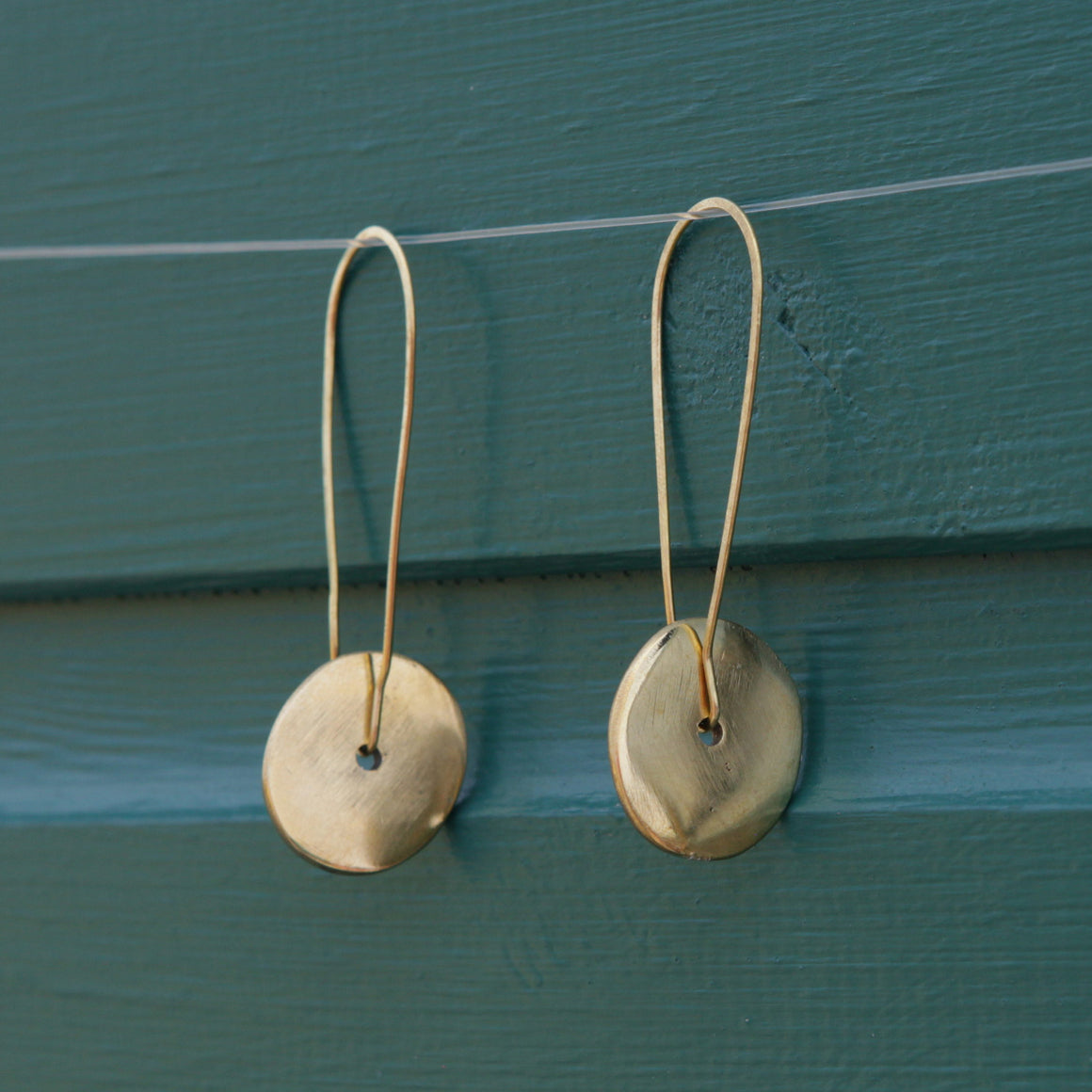 Artisans & Adventurers recycled brass earrings. Ethical and sustainable jewellery made in Kenya
