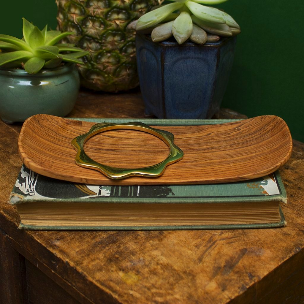Wood Flat Sushi Tray With Curved Sides