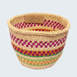 Kenyan Sisal Basket 'Jane Pink Green & Orange' No.73
