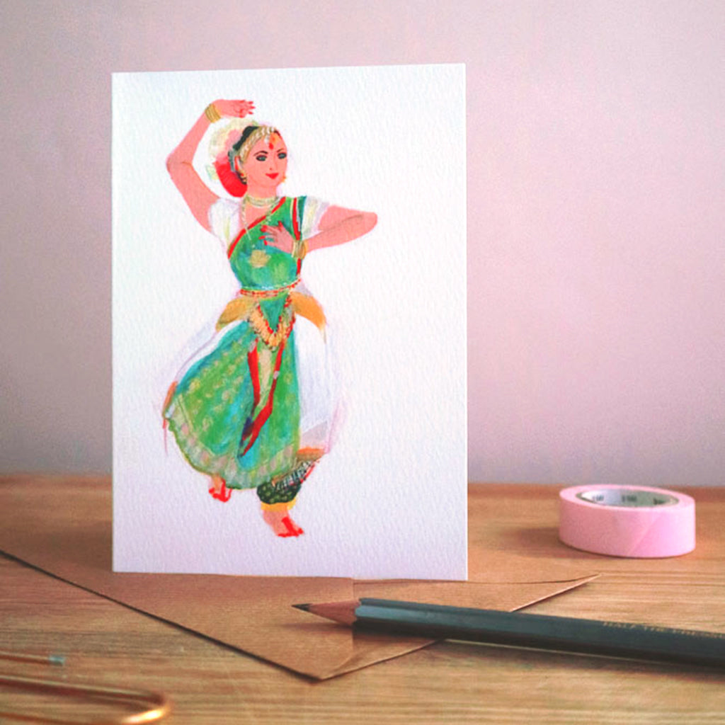 June Sees Greetings Card 'Bharatamatyam'