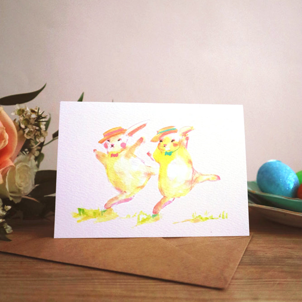 June Sees Greetings Card 'By golly! It's Tap dancing bunnies'