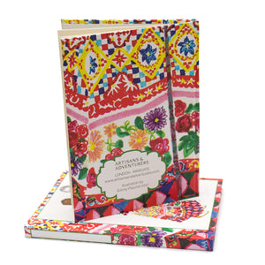Indian Recycled Paper Notebook 'Floral Kaftan'