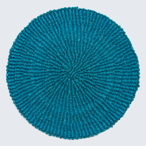 Handwoven Sisal Circle Table mat/Placemat 'Teal Blue'