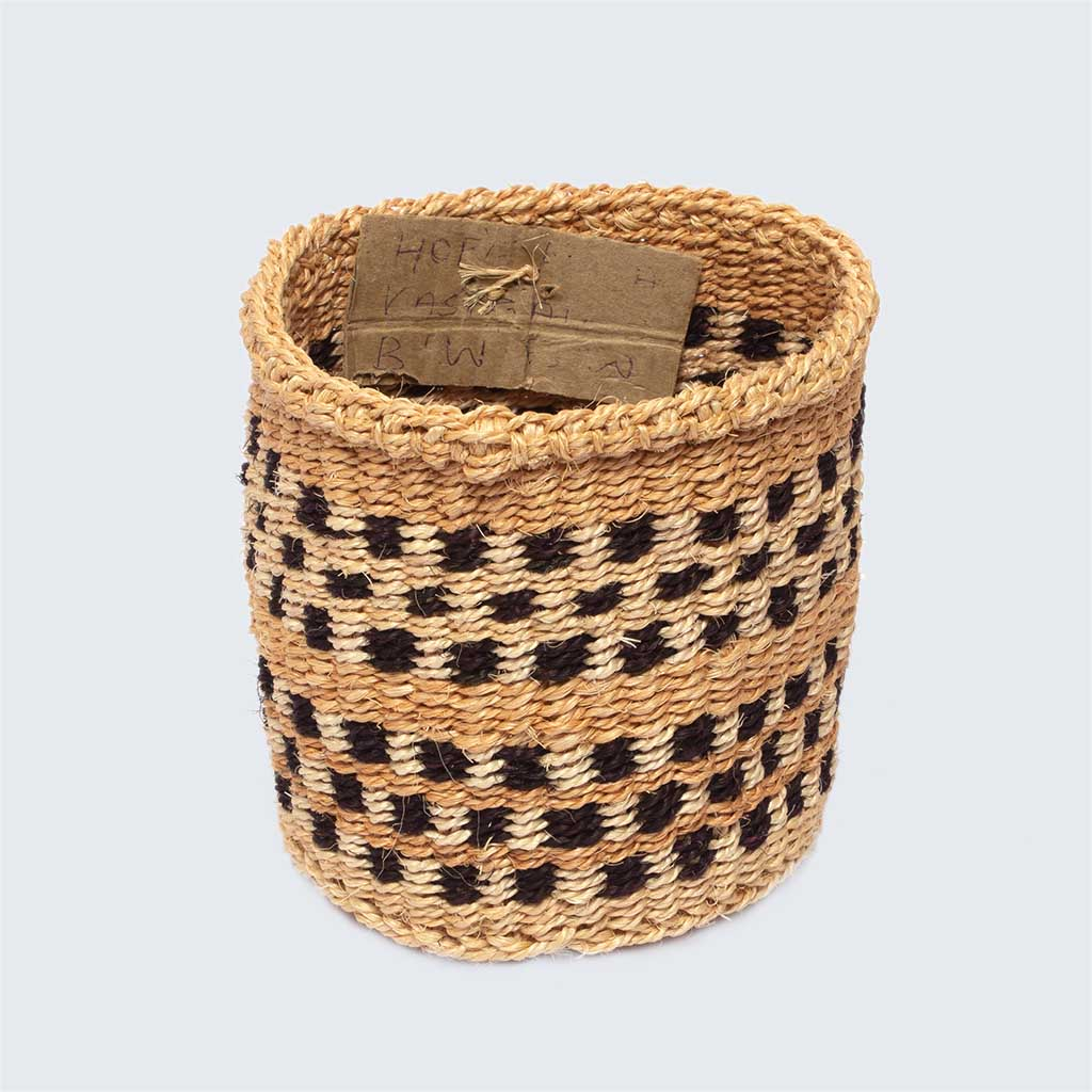 Kenyan Sisal Basket 'Hope Black and White' No.28