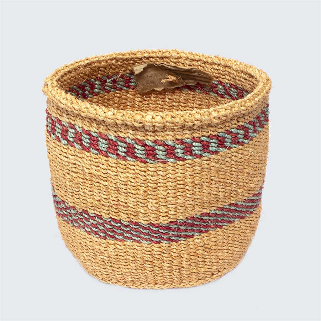 Kenyan Sisal Basket 'Blue and Red Band' No.31