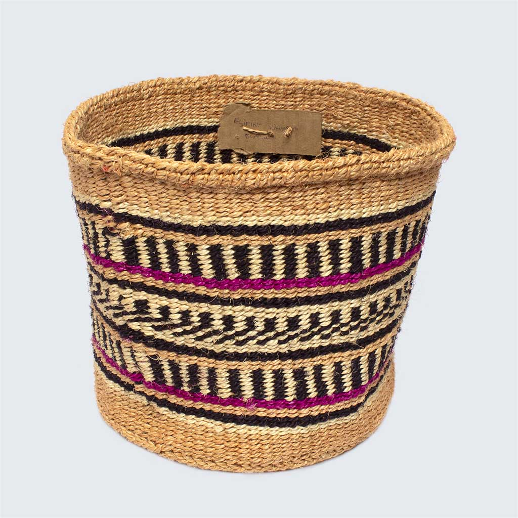 Kenyan Sisal Large Basket 'Raspberry Stripes' No.18