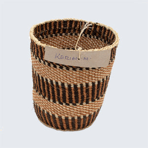 Kenyan Traditional Sisal Basket 'Kerim Light Brown'